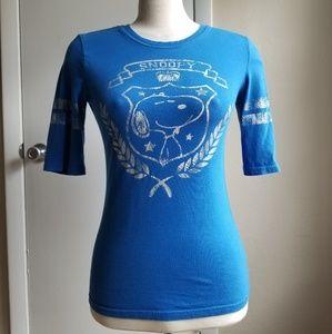 Snoopy Peanuts Shirt Blue Juniors Cotton